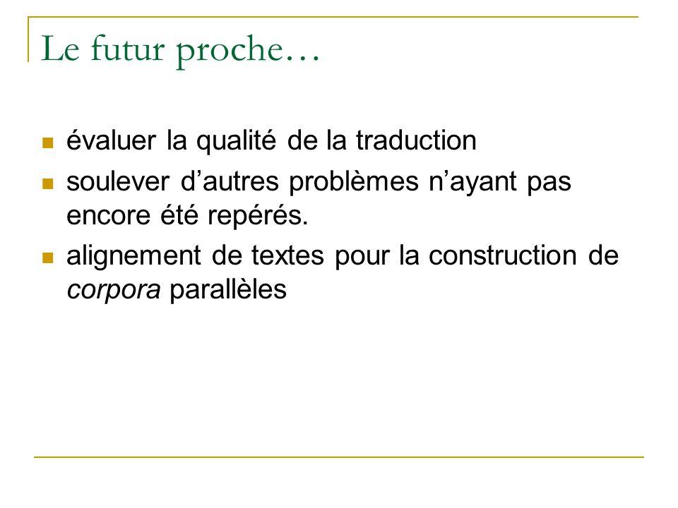 Le futur proche… évaluer la qualité de la traduction soulever dautres problèmes nayant pas encore été repérés. alignement de textes pour la constructi