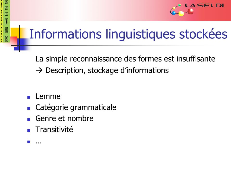 Informations linguistiques stockées La simple reconnaissance des formes est insuffisante Description, stockage dinformations Lemme Catégorie grammaticale Genre et nombre Transitivité …