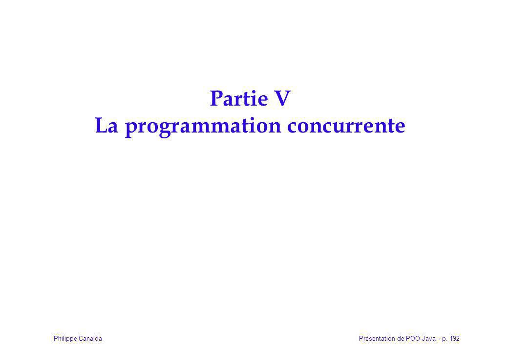 Présentation de POO-Java - p. 192Philippe Canalda Partie V La programmation concurrente
