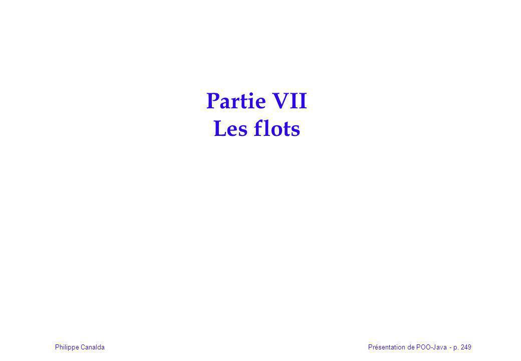 Présentation de POO-Java - p. 249Philippe Canalda Partie VII Les flots