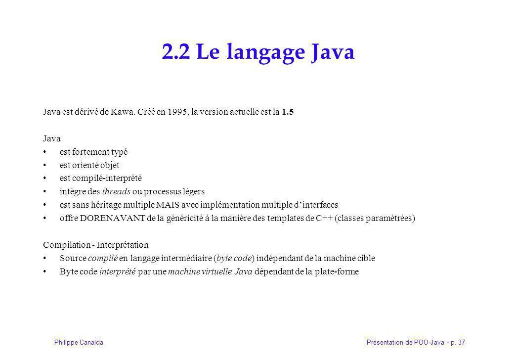 Présentation de POO-Java - p.37Philippe Canalda 2.2 Le langage Java Java est dérivé de Kawa.