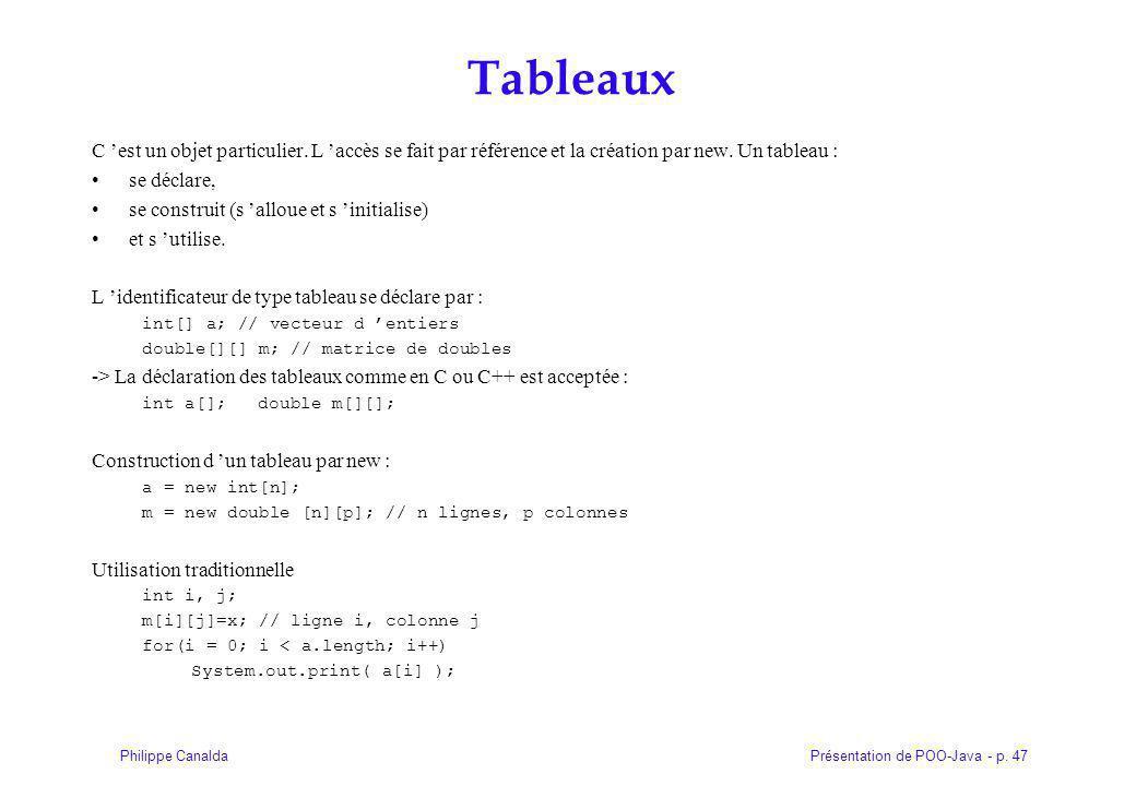 Présentation de POO-Java - p.47Philippe Canalda Tableaux C est un objet particulier.