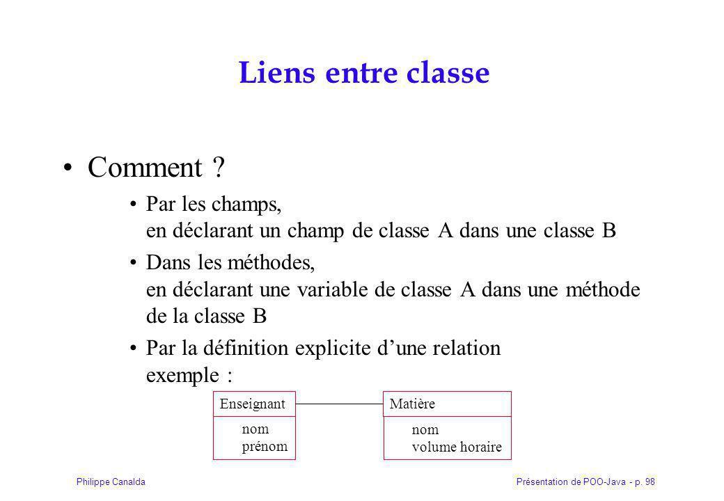 Présentation de POO-Java - p.98Philippe Canalda Liens entre classe Comment .