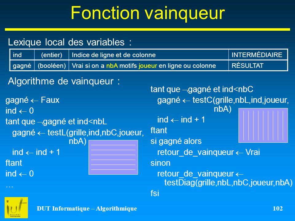 DUT Informatique – Algorithmique 102 Fonction vainqueur Lexique local des variables : Algorithme de vainqueur : ind(entier)Indice de ligne et de colon
