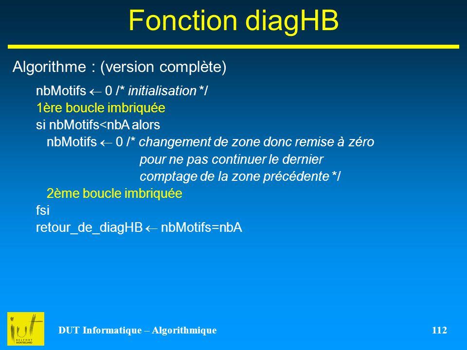 DUT Informatique – Algorithmique 112 Fonction diagHB Algorithme : (version complète) nbMotifs 0 /* initialisation */ 1ère boucle imbriquée si nbMotifs