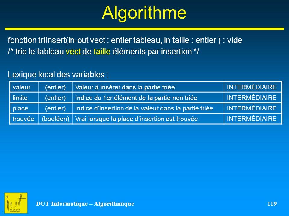 DUT Informatique – Algorithmique 119 Algorithme fonction triInsert(in-out vect : entier tableau, in taille : entier ) : vide /* trie le tableau vect d