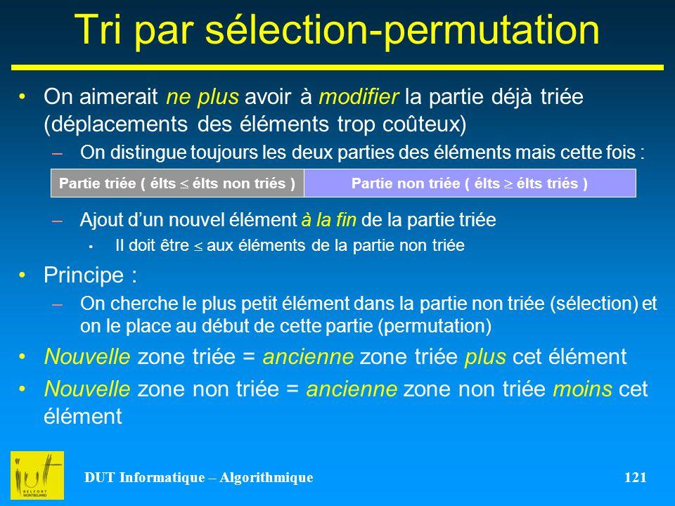 DUT Informatique – Algorithmique 121 Tri par sélection-permutation On aimerait ne plus avoir à modifier la partie déjà triée (déplacements des élément