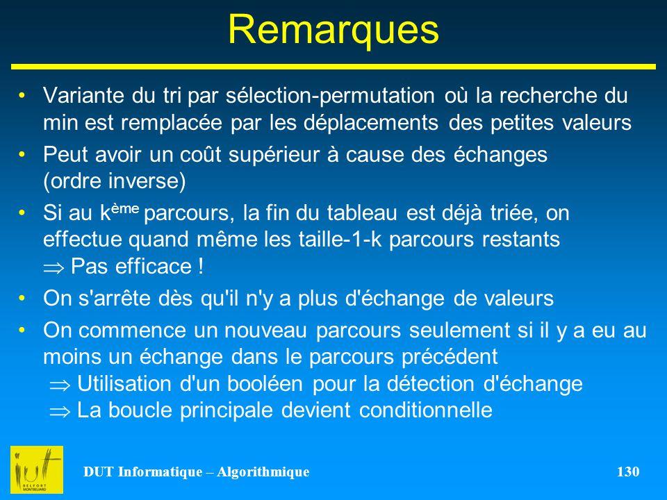 DUT Informatique – Algorithmique 130 Remarques Variante du tri par sélection-permutation où la recherche du min est remplacée par les déplacements des
