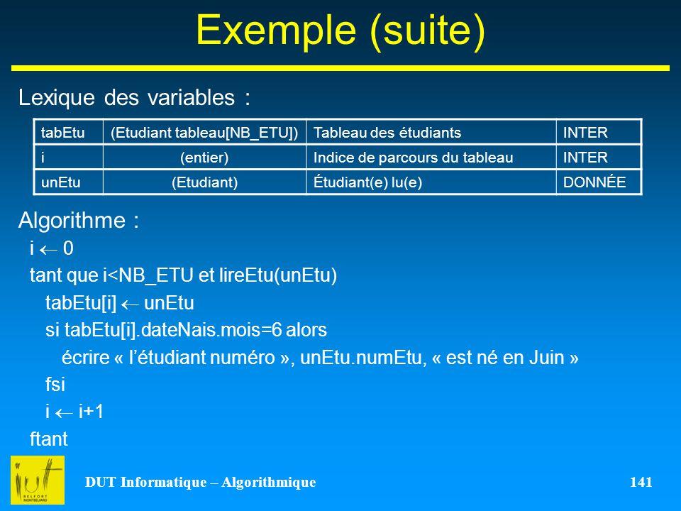 DUT Informatique – Algorithmique 141 Exemple (suite) Lexique des variables : Algorithme : tabEtu(Etudiant tableau[NB_ETU])Tableau des étudiantsINTER i