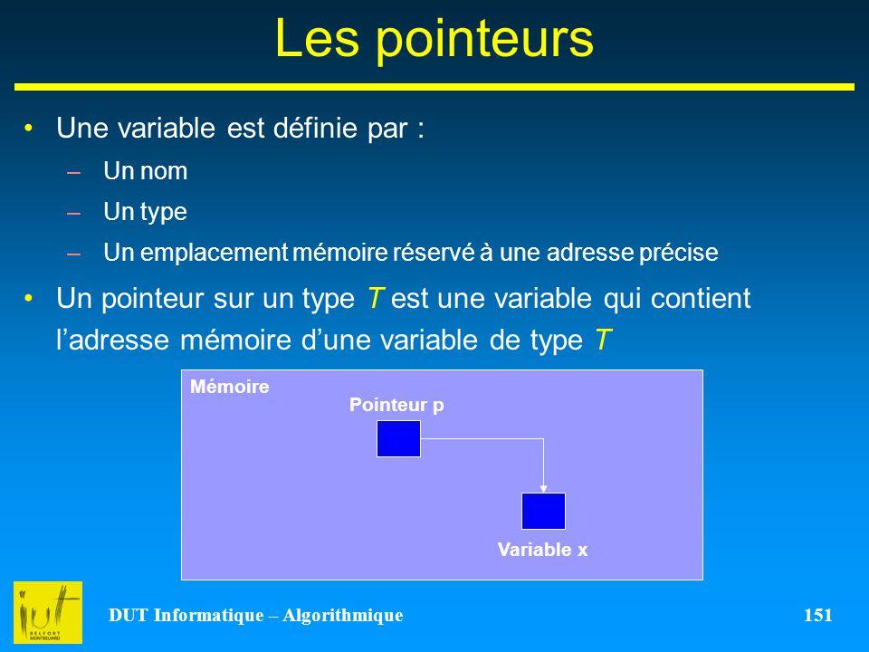 DUT Informatique – Algorithmique 151 Les pointeurs Une variable est définie par : –Un nom –Un type –Un emplacement mémoire réservé à une adresse préci