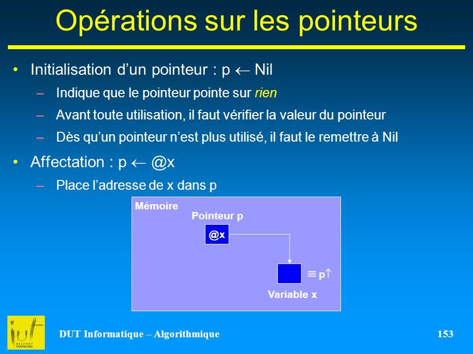 DUT Informatique – Algorithmique 153 Opérations sur les pointeurs Initialisation dun pointeur : p Nil –Indique que le pointeur pointe sur rien –Avant