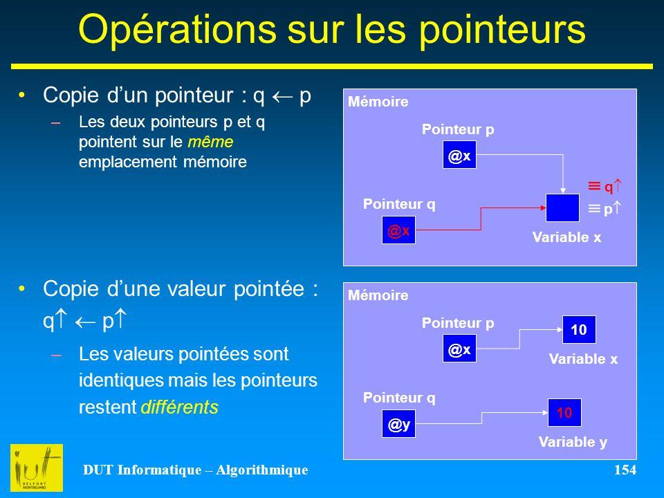 DUT Informatique – Algorithmique 154 Opérations sur les pointeurs Copie dun pointeur : q p –Les deux pointeurs p et q pointent sur le même emplacement