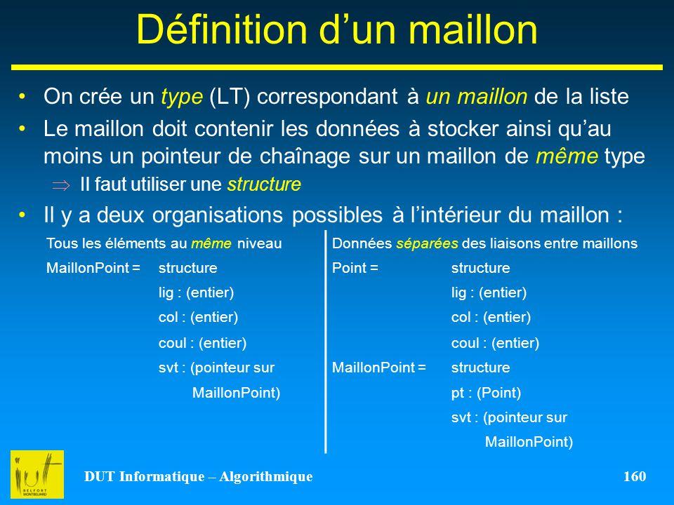 DUT Informatique – Algorithmique 160 Définition dun maillon On crée un type (LT) correspondant à un maillon de la liste Le maillon doit contenir les d