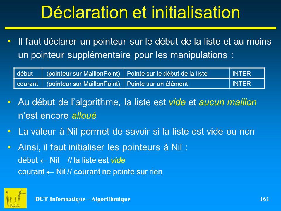 DUT Informatique – Algorithmique 161 Déclaration et initialisation Il faut déclarer un pointeur sur le début de la liste et au moins un pointeur suppl