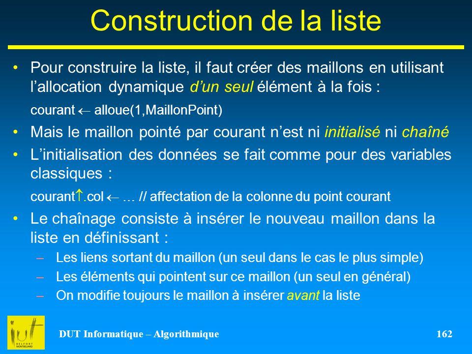 DUT Informatique – Algorithmique 162 Construction de la liste Pour construire la liste, il faut créer des maillons en utilisant lallocation dynamique