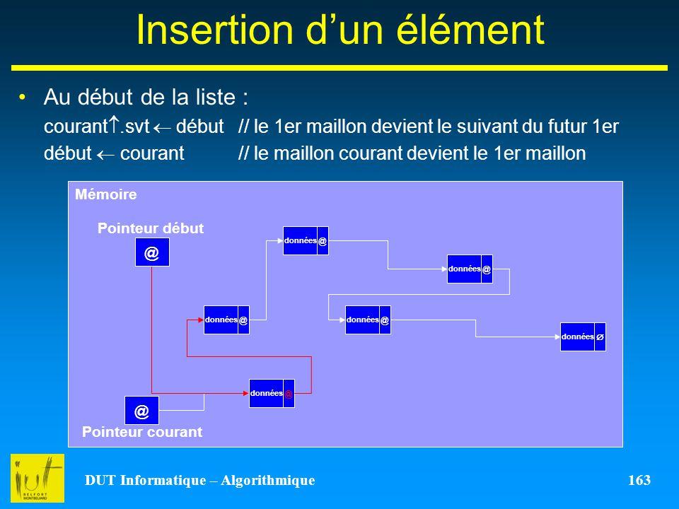 DUT Informatique – Algorithmique 163 Insertion dun élément Au début de la liste : courant.svt début // le 1er maillon devient le suivant du futur 1er
