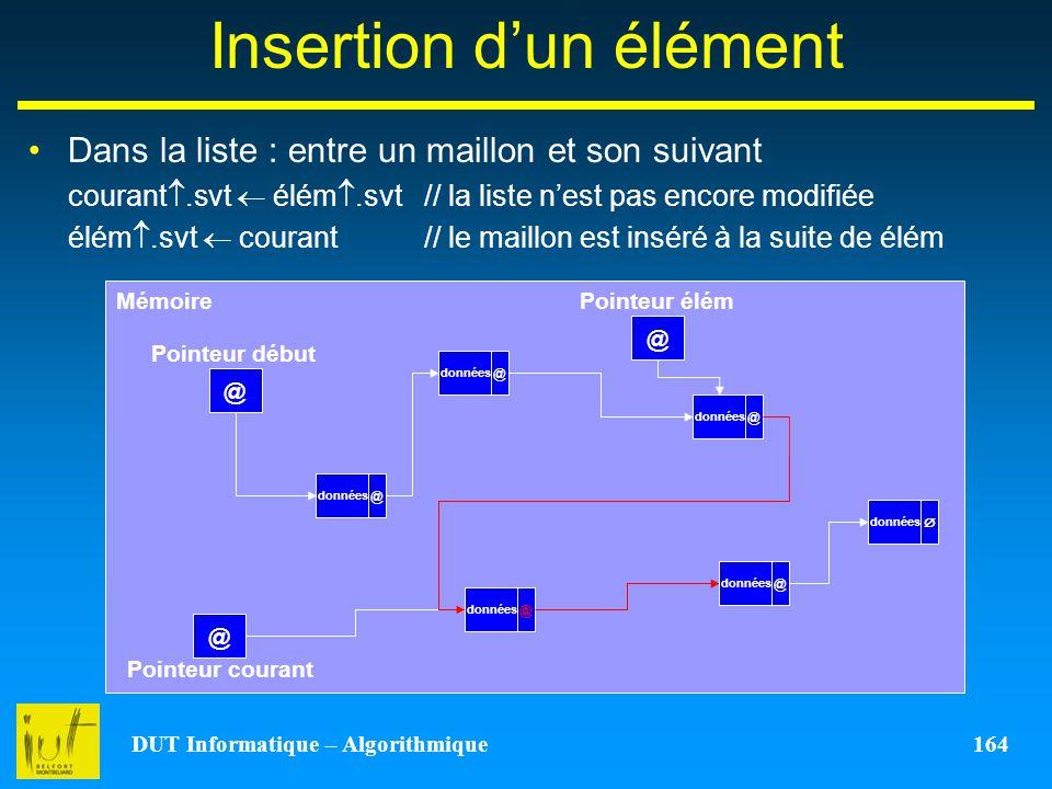 DUT Informatique – Algorithmique 164 Insertion dun élément Dans la liste : entre un maillon et son suivant courant.svt élém.svt // la liste nest pas e