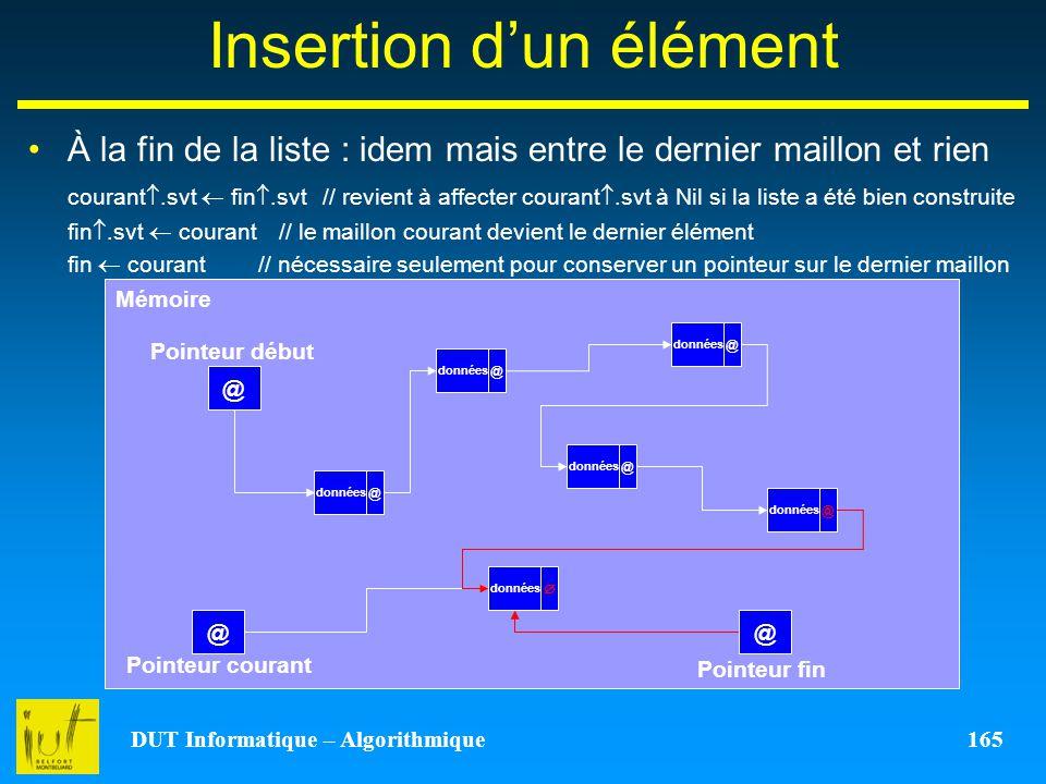 DUT Informatique – Algorithmique 165 Insertion dun élément À la fin de la liste : idem mais entre le dernier maillon et rien courant.svt fin.svt // re