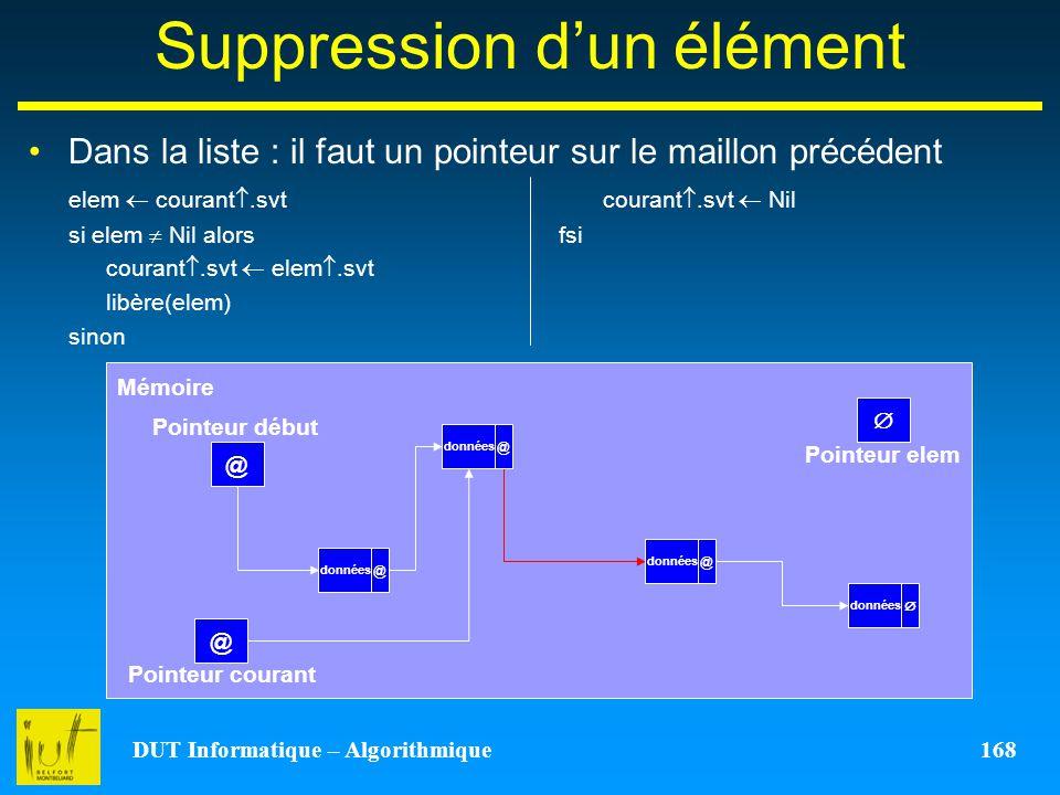 DUT Informatique – Algorithmique 168 Suppression dun élément Dans la liste : il faut un pointeur sur le maillon précédent elem courant.svtcourant.svt