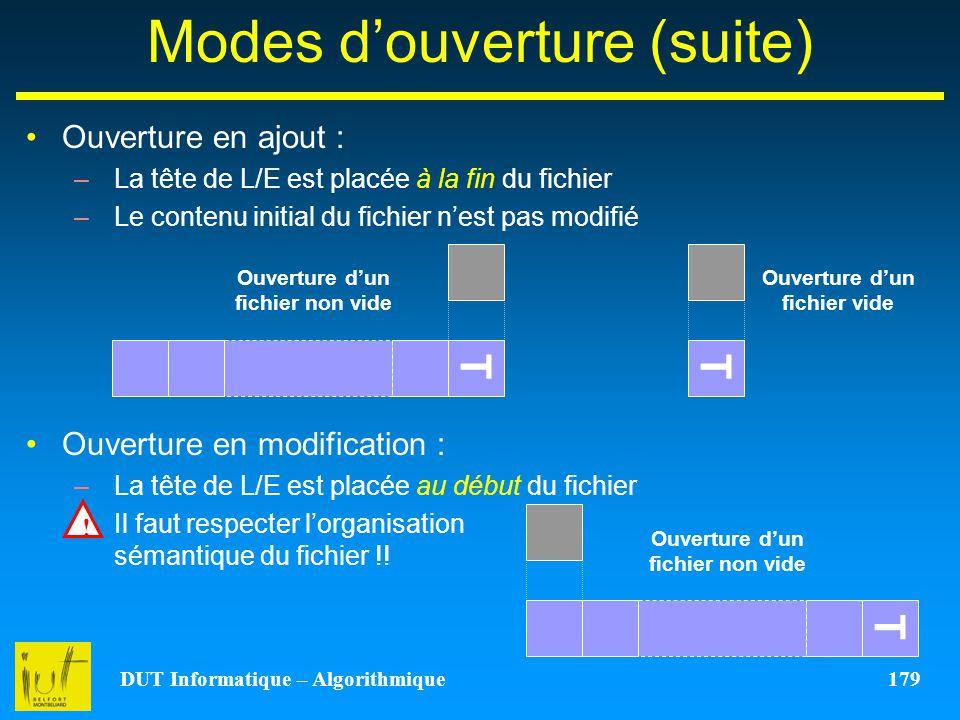 DUT Informatique – Algorithmique 179 Modes douverture (suite) Ouverture en ajout : –La tête de L/E est placée à la fin du fichier –Le contenu initial
