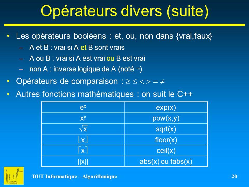 DUT Informatique – Algorithmique 20 Opérateurs divers (suite) Les opérateurs booléens : et, ou, non dans {vrai,faux} –A et B : vrai si A et B sont vra