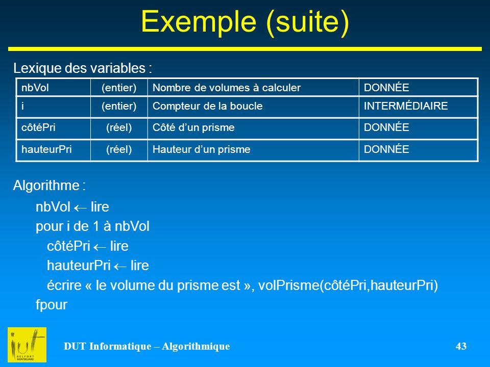 DUT Informatique – Algorithmique 43 Exemple (suite) Lexique des variables : Algorithme : nbVol(entier)Nombre de volumes à calculerDONNÉE i(entier)Comp