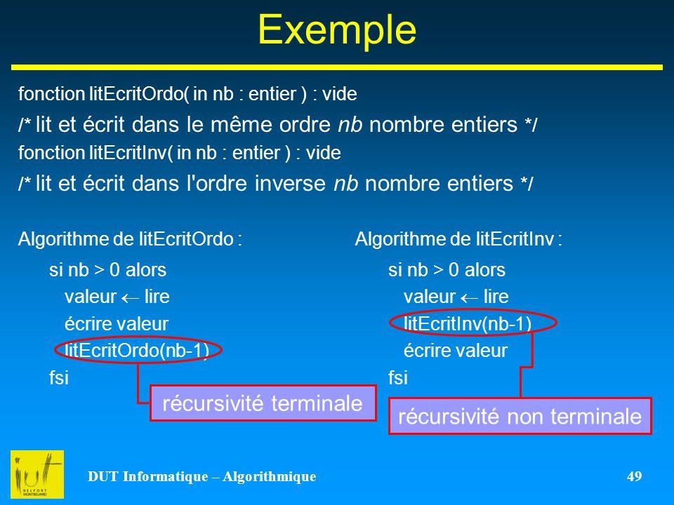DUT Informatique – Algorithmique 49 Exemple fonction litEcritOrdo( in nb : entier ) : vide /* lit et écrit dans le même ordre nb nombre entiers */ fon