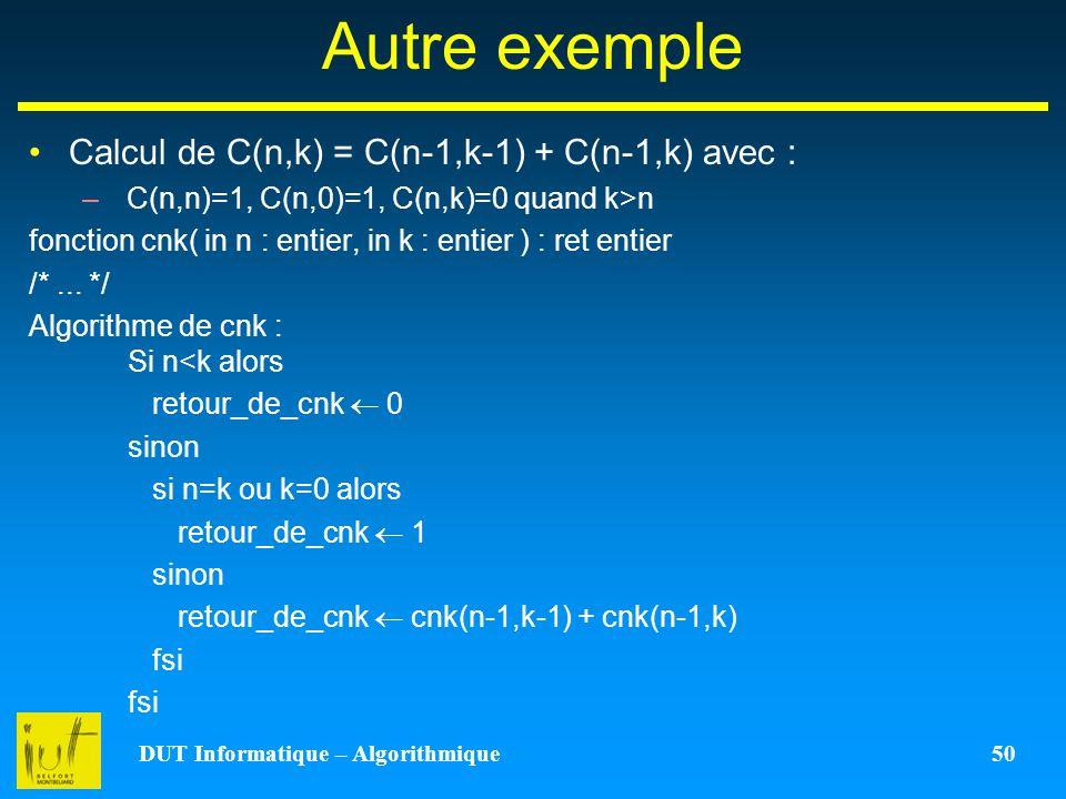 DUT Informatique – Algorithmique 50 Autre exemple Calcul de C(n,k) = C(n-1,k-1) + C(n-1,k) avec : –C(n,n)=1, C(n,0)=1, C(n,k)=0 quand k>n fonction cnk