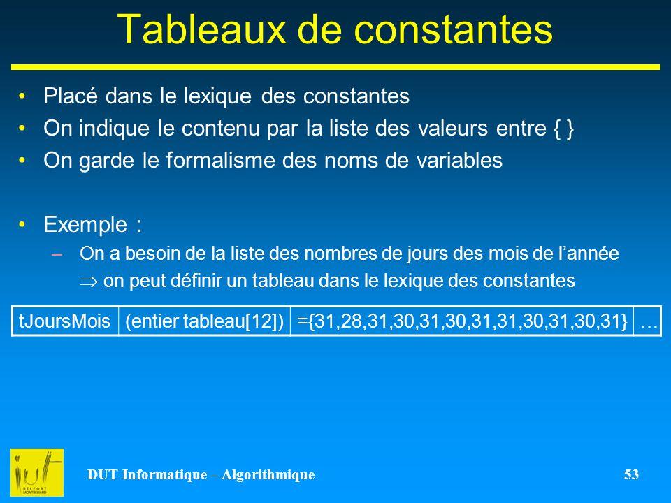 DUT Informatique – Algorithmique 53 Tableaux de constantes Placé dans le lexique des constantes On indique le contenu par la liste des valeurs entre {