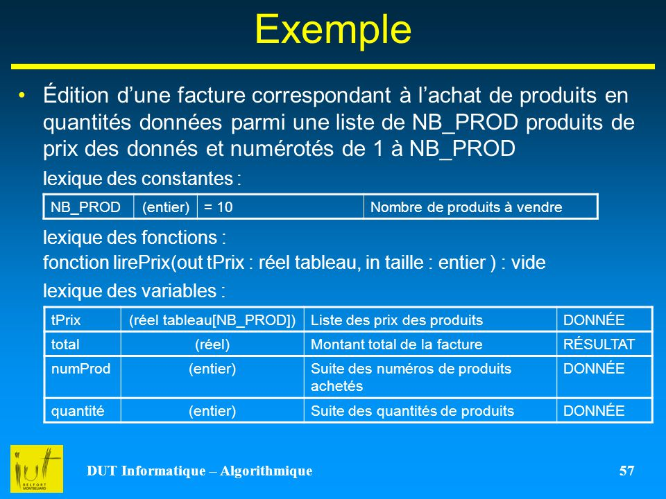 DUT Informatique – Algorithmique 57 Exemple Édition dune facture correspondant à lachat de produits en quantités données parmi une liste de NB_PROD pr