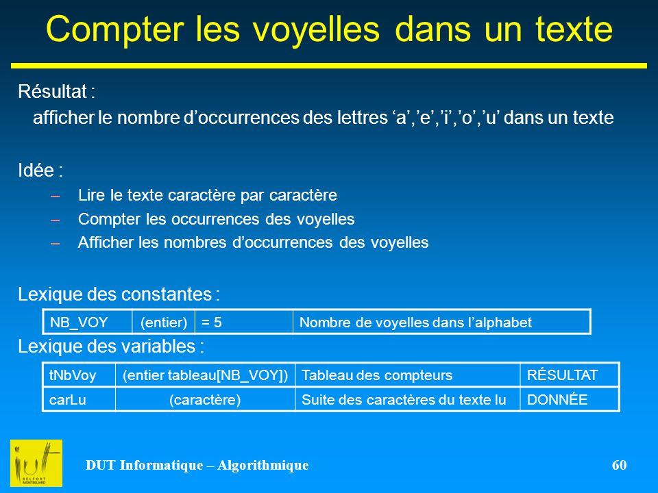 DUT Informatique – Algorithmique 60 Compter les voyelles dans un texte Résultat : afficher le nombre doccurrences des lettres a,e,i,o,u dans un texte