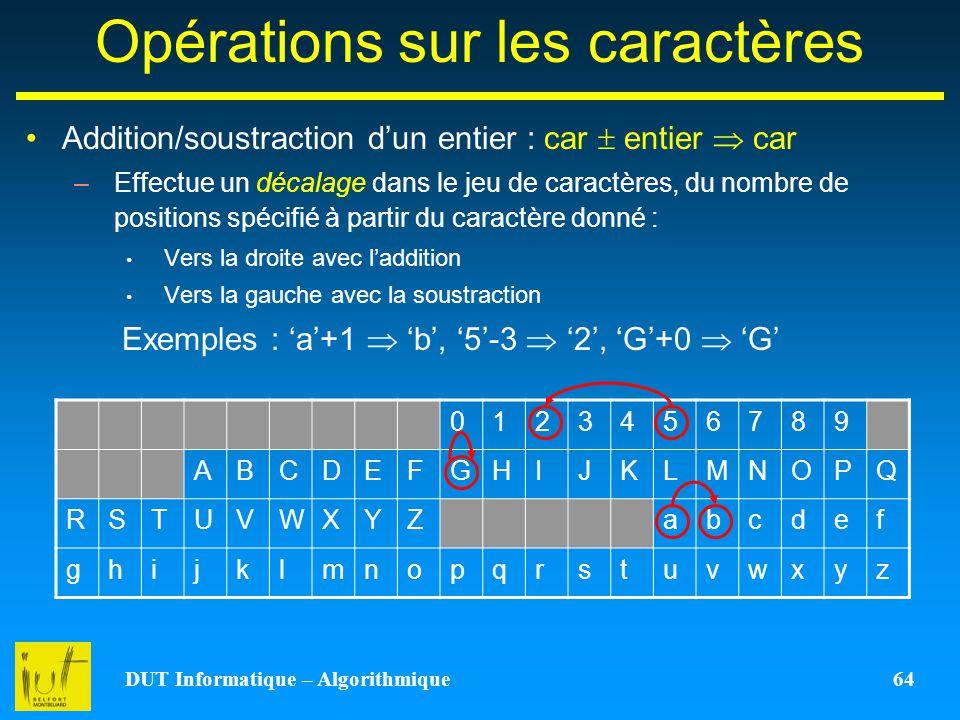DUT Informatique – Algorithmique 64 Opérations sur les caractères Addition/soustraction dun entier : car entier car –Effectue un décalage dans le jeu