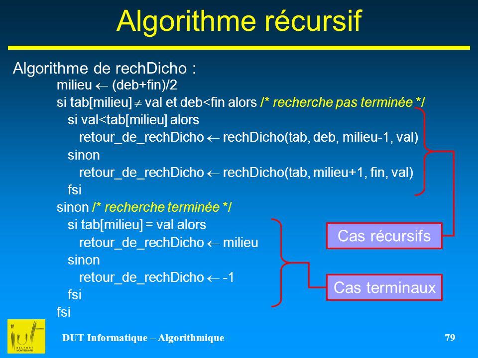 DUT Informatique – Algorithmique 79 Algorithme récursif Algorithme de rechDicho : milieu (deb+fin)/2 si tab[milieu] val et deb<fin alors /* recherche