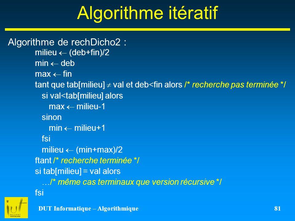 DUT Informatique – Algorithmique 81 Algorithme itératif Algorithme de rechDicho2 : milieu (deb+fin)/2 min deb max fin tant que tab[milieu] val et deb<