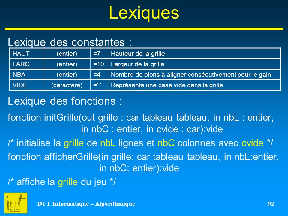 DUT Informatique – Algorithmique 92 Lexiques Lexique des constantes : Lexique des fonctions : fonction initGrille(out grille : car tableau tableau, in