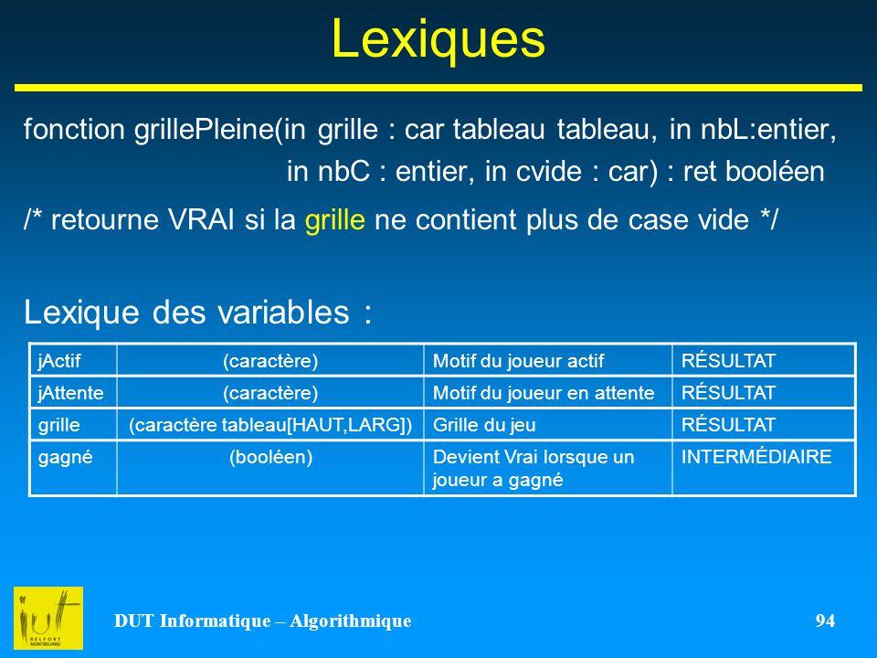 DUT Informatique – Algorithmique 94 Lexiques fonction grillePleine(in grille : car tableau tableau, in nbL:entier, in nbC : entier, in cvide : car) :