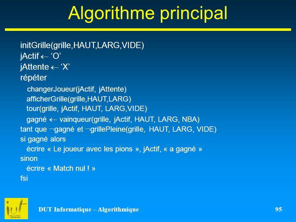 DUT Informatique – Algorithmique 95 Algorithme principal initGrille(grille,HAUT,LARG,VIDE) jActif O jAttente X répéter changerJoueur(jActif, jAttente)