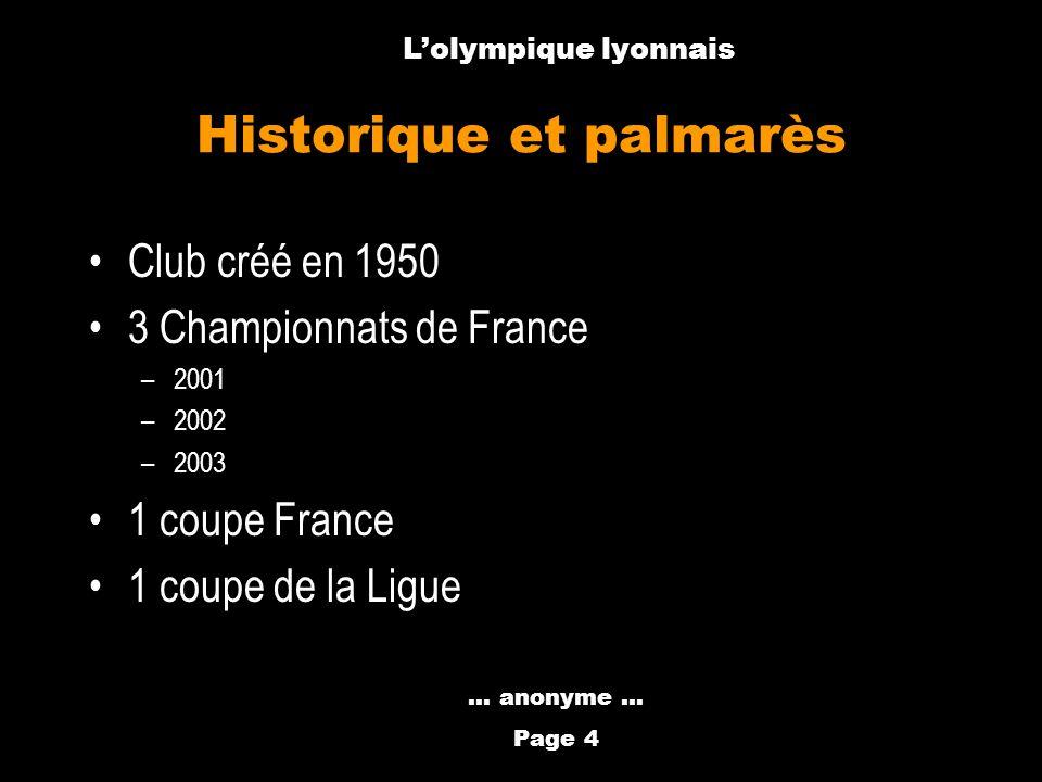Anthony Métral Historique et palmarès Club créé en 1950 3 Championnats de France –2001 –2002 –2003 1 coupe France 1 coupe de la Ligue... anonyme … Pag
