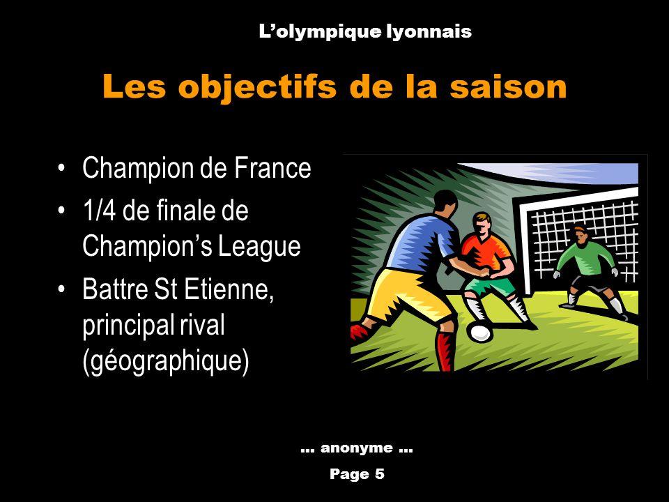 Anthony Métral Les objectifs de la saison Champion de France 1/4 de finale de Champions League Battre St Etienne, principal rival (géographique)... an