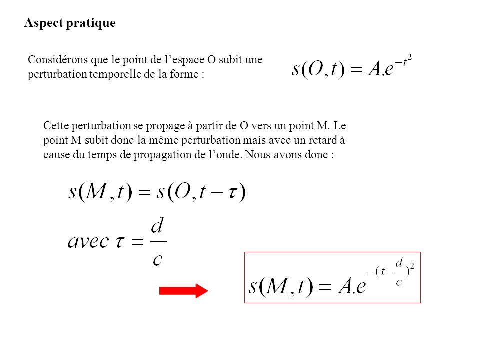 Considérons que le point de lespace O subit une perturbation temporelle de la forme : Cette perturbation se propage à partir de O vers un point M. Le