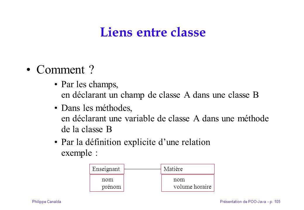 Présentation de POO-Java - p. 105Philippe Canalda Liens entre classe Comment ? Par les champs, en déclarant un champ de classe A dans une classe B Dan