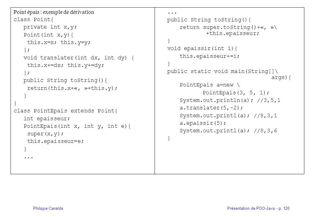 Présentation de POO-Java - p. 120Philippe Canalda Point épais : exemple de dérivation class Point{ private int x,y; Point(int x,y){ this.x=x; this.y=y