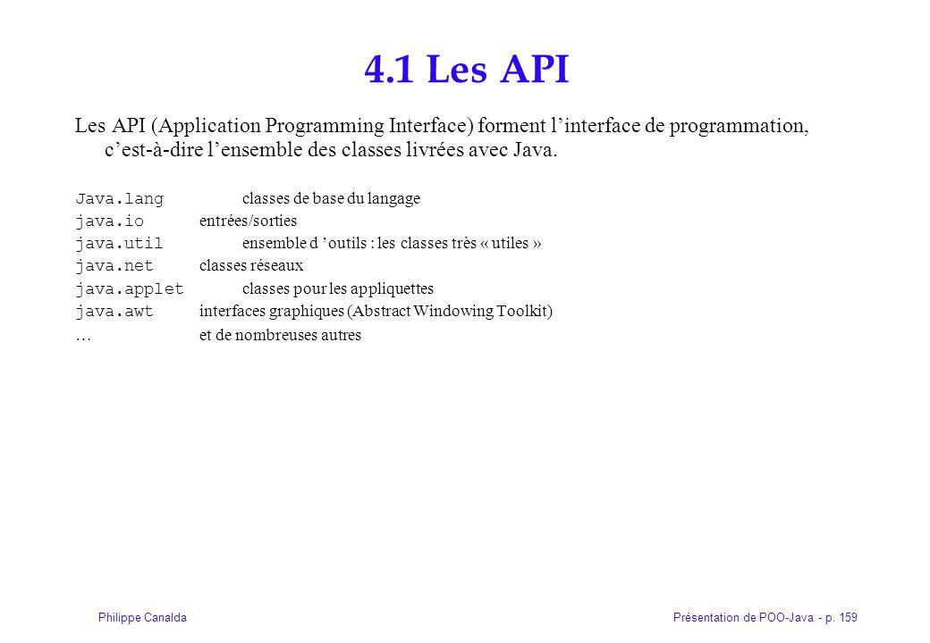 Présentation de POO-Java - p. 159Philippe Canalda 4.1 Les API Les API (Application Programming Interface) forment linterface de programmation, cest-à-