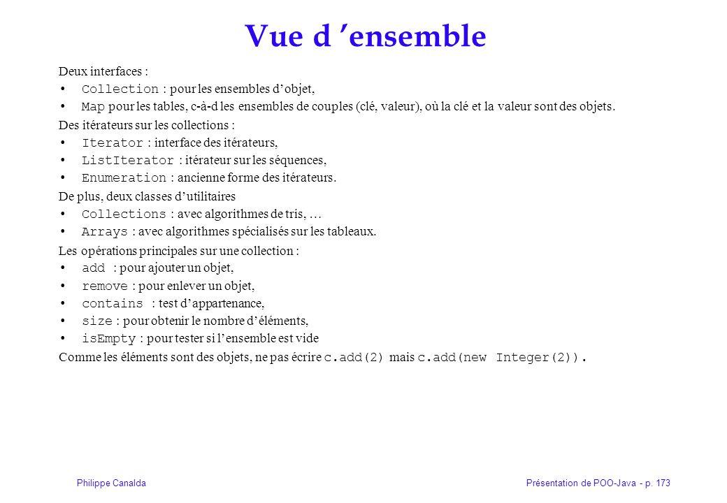 Présentation de POO-Java - p. 173Philippe Canalda Vue d ensemble Deux interfaces : Collection : pour les ensembles dobjet, Map pour les tables, c-à-d
