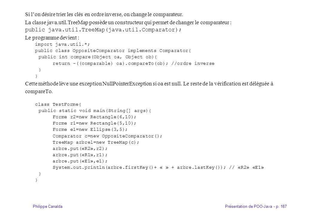 Présentation de POO-Java - p. 187Philippe Canalda Si lon désire trier les clés en ordre inverse, on change le comparateur. La classe java.util.TreeMap