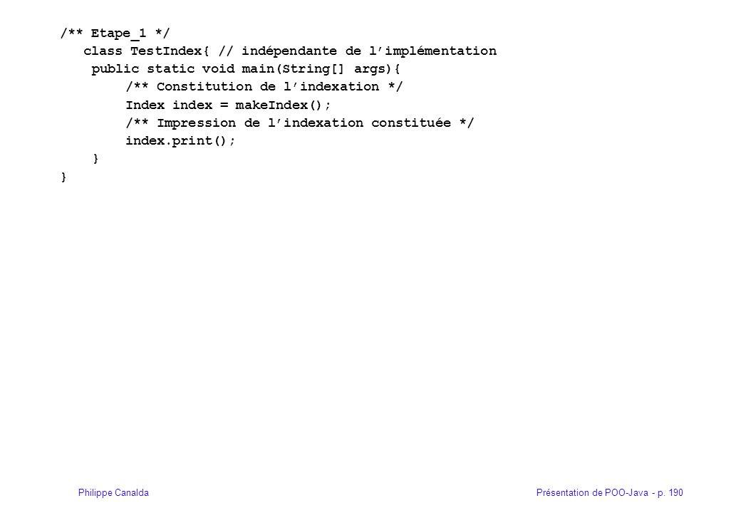 Présentation de POO-Java - p. 190Philippe Canalda /** Etape_1 */ class TestIndex{ // indépendante de limplémentation public static void main(String[]
