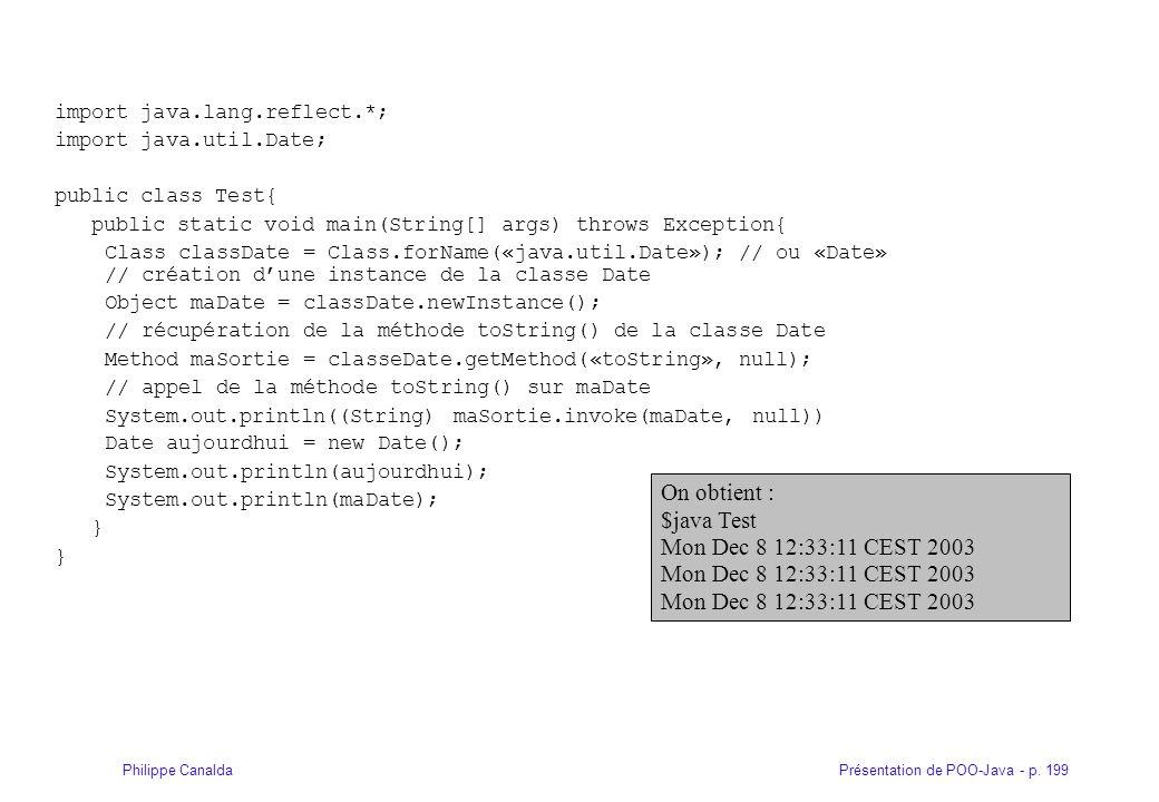 Présentation de POO-Java - p. 199Philippe Canalda import java.lang.reflect.*; import java.util.Date; public class Test{ public static void main(String