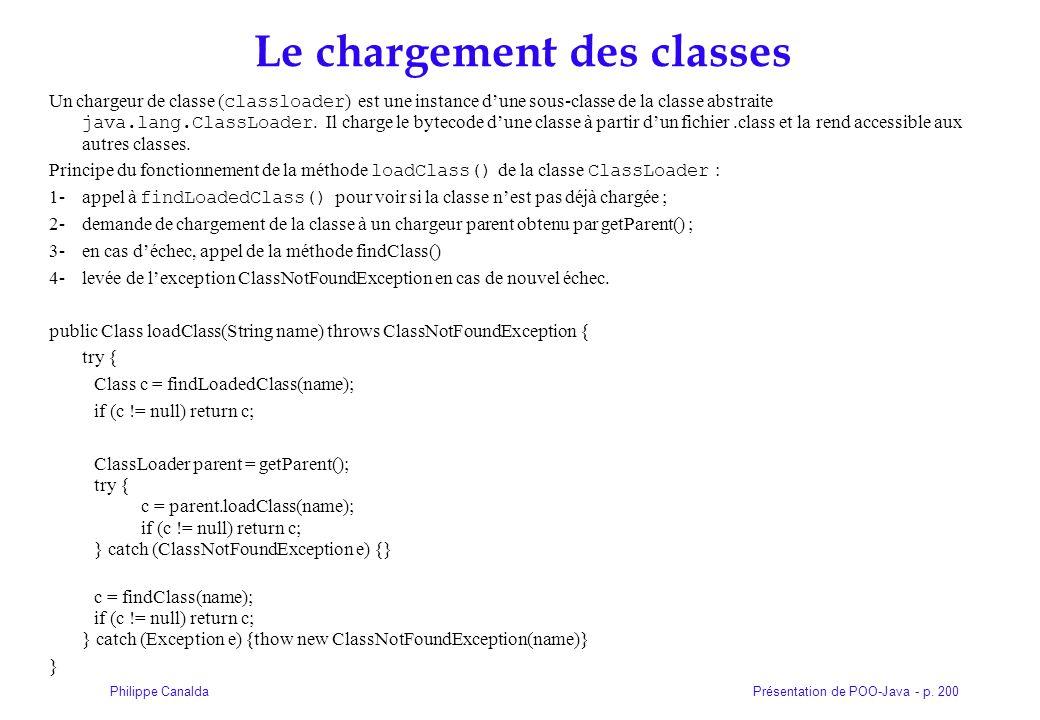 Présentation de POO-Java - p. 200Philippe Canalda Le chargement des classes Un chargeur de classe ( classloader ) est une instance dune sous-classe de
