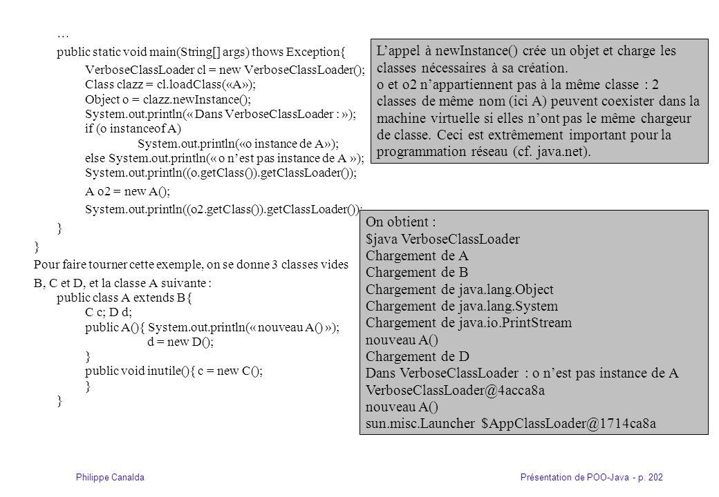 Présentation de POO-Java - p. 202Philippe Canalda … public static void main(String[] args) thows Exception{ VerboseClassLoader cl = new VerboseClassLo