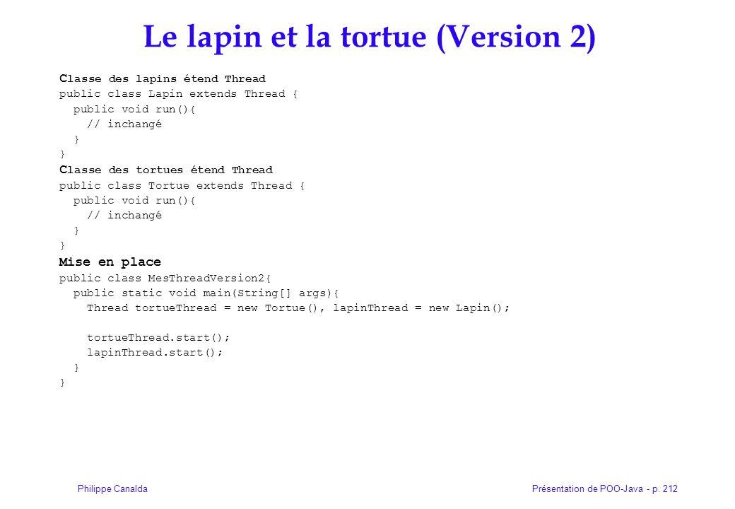 Présentation de POO-Java - p. 212Philippe Canalda Le lapin et la tortue (Version 2) C lasse des lapins étend Thread public class Lapin extends Thread